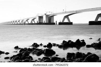 The Zeelandbrug (Zeeland Bridge), Dutch province of Zeeland, The Netherlands - long exposure -