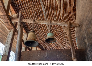 Zege Peninsula in Lake Tana. Ceremonial bells in UNESCO Ura Kidane Mehret Church, monastery from 14th century by the saint Betre Mariyam, decorated with painted frescoes