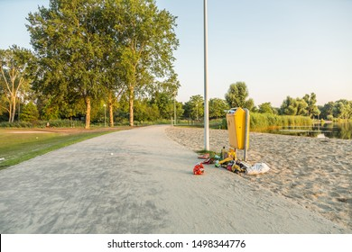 Zegerplas, Alphen aan den Rijn, Zuid Holland, Netherlands,July 24, 2019: Example of pollution due to poor policy, poor management, insufficient waste capacity and ascocial behavior of people