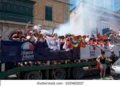 Zejtun city, Malta - 4 june 2017: people celebrating election results when Malta's Prime Minister Joseph Muscat has won the general election. People celebrating in the street of Zejtun, Malta