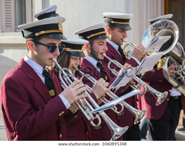 ZEJTUN, MALTA - March 30, 2018: A band during Good Friday procession in Malta