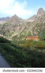 Zelene pleso chalet and Jastrabia veza peak in Zelene pleso valley in High Tatras, Slovakia  - Shutterstock ID 1523441336