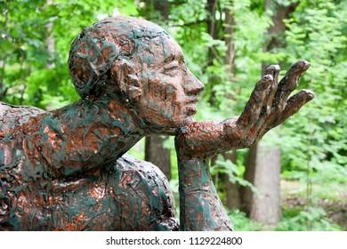 "ZELENOGORSK, RUSSIA - JULY 05: Part of sculpture ""Thinker"" on July 05, 2018"