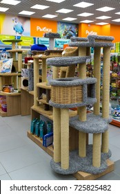 Zelenograd, Russia - September 15. 2017. scratching posts at pet store Four paws at the mall Panfilov