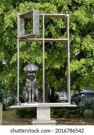 Zelenogradsk, Russia, June 28, 2021. Modern sculpture to memory city cats
