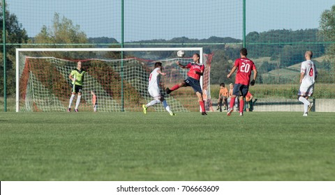 ZELINA, CROATIA - AUGUST 28, 2017:  Croatian Fourth Football League game between NK Croatia and NK Zelina. Unknown football players in action