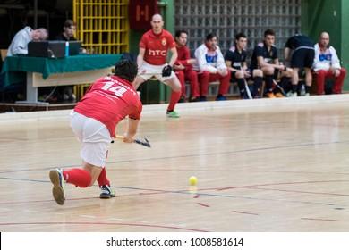 ZELINA, CROATIA - JANUARY 06, 2018: Croatia Indoor Cup 2018. Indoor hockey match between Mladost and Croatia. Hockey players in action.