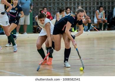 ZELINA, CROATIA - JANUARY 06, 2018: Croatia Indoor Cup 2018. Indoor hockey match between Croatia and South Africa. Hockey players in action.