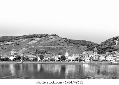 Zell, Germany - July 25, 2020: scenic view to village of Zell at the Moselle valley