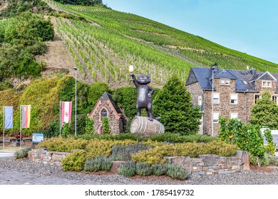 Zell, Germany - July 25, 2020: scenic view to village of Zell at the Moselle valley with symbol black cat of Zell.