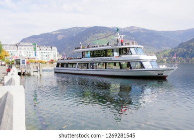 ZELL AM SEE, AUSTRIA, 14 OCTOBER, 2018: Touristic ship on Zell am See in Austria, Europe