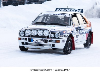 ZELL AM SEE, AUSTRIA - JANUARY 19, 2019: Driver Sebastian Glaser on his Lancia Delta Integrale at GP Ice race on snow and ice.