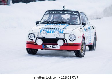 ZELL AM SEE, AUSTRIA - JANUARY 19, 2019: German driver Matthias Kahle on his Skoda 130 RS rallye car at GP Ice race on snow and ice.
