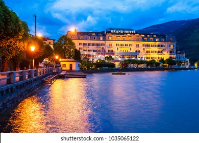 ZELL AM SEE, AUSTRIA - MAY 20, 2017: The Grand Hotel Zell am See is situated in Zell am See old town and Zell Lake. It is the administrative capital in the state of Salzburg, Austria.