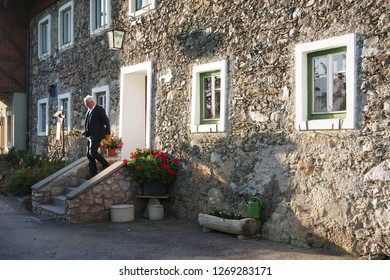 ZELL AM SEE, AUSTRIA - MAY 20, 2017: Zell am See old town, the administrative capital in the state of Salzburg, Austria