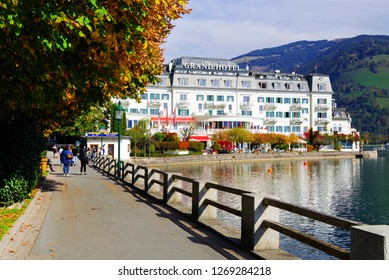 ZELL AM SEE, AUSTRIA - MAY 20, 2017: The Grand Hotel Zell am See is situated in Zell am See old town and Zell Lake. It is the administrative capital in the state of Salzburg, Austria