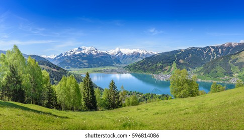 Zell am See, snowy mountain tops, Salzburg, Austria