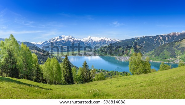 Zell am See, schneebedeckte Berggipfel, Salzburg, Österreich