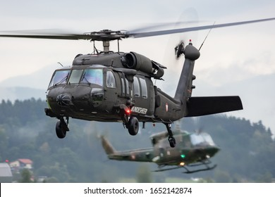 Zeltweg / Austria - September 6, 2019: Austrian Air Force Sikorsky S-70 (UH-60) Black Hawk 6M-BF flying at Zeltweg Air Base