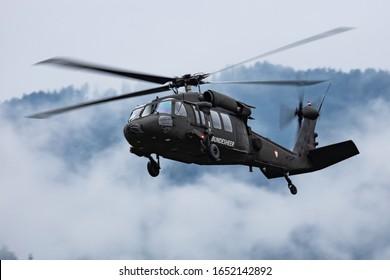 Zeltweg / Austria - September 6, 2019: Austrian Air Force Sikorsky S-70 (UH-60) Black Hawk 6M-BB flying at Zeltweg Air Base