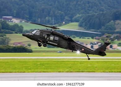 Zeltweg, Austria - September 6, 2019: Austrian Air Force Sikorsky S-70 UH-60 Black Hawk 6M-BB flying at Zeltweg Air Base