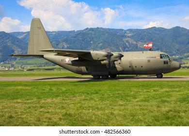 ZELTWEG, STYRIA, AUSTRIA - SEPTEMBER 02: Hercules C130  of the Austrian airforce  at Airpower  in Zeltweg, Austria