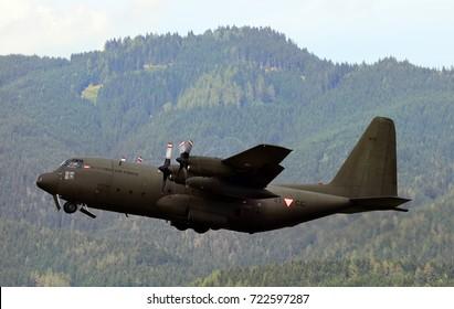 ZELTWEG, STYRIA, AUSTRIA - SEPTEMBER 02::  Military transporter C130 Hercules from Austrian Army by public airshow named airpower 16, September 02,2016, Zeltweg, Austria