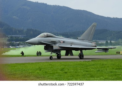 ZELTWEG, STYRIA, AUSTRIA - SEPTEMBER 02::  Field exercise with Eurofighter jet by public  and entrance free airshow named airpower 16, on September 02,2016, Zeltweg, Austria