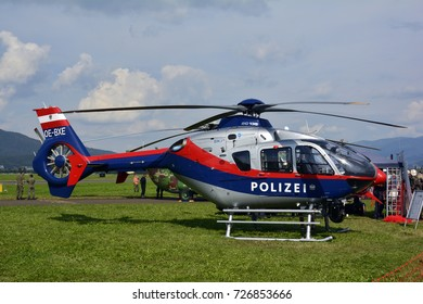 ZELTWEG, STYRIA, AUSTRIA - SEPTEMBER 02: Police helicopter by public airshow named Airpower 16, on September 02, 2016 in Zeltweg, Austria