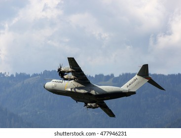 Zeltweg,Styria,Austria-September 2,2016  flyover of Airbus A400M on airpower 2016 in zeltweg,austria