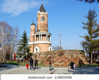 Zemun, Belgrade, Serbia February 28.2009. Gardos Tower in Zemun. People are walking around Tower and enjoy in February sun.