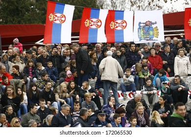 ZEMUN, SERBIA - JAN 19, 2014: The audience at the ceremony. The Serbian Orthodox Church, traditionally marks Epiphany with competitions to retrieve the Holy Cross from Danube river in Zemun quay.