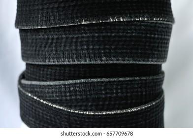 Zen art. Black belt martial arts on white background