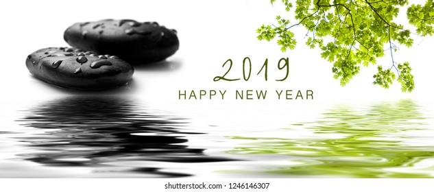 zen banner happy new year card 2019 ) raindrops on black pebbles in border water reflection