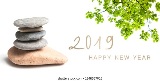 zen banner happy new year card 2019