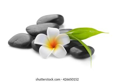 zen basalt stones ,frangipani and bamboo isolated on white