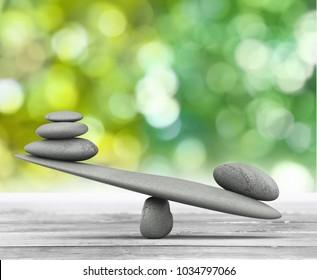 Zen basalt stones  on wooden desk