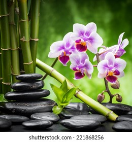 zen basalt stones and orchid.