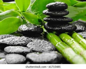 zen black stones and bamboo in water