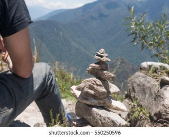 zen and energy from the Earth stone piramid on Machu Picchu Mountain, Peru