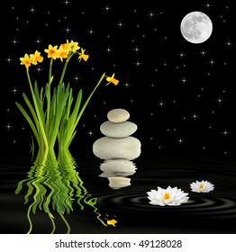 Zen fantasy abstract of a spring garden at night with narcissus and lotus lily flowers, grey spa stones  with a full moon and stars with reflection in rippled black water.