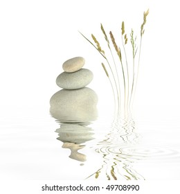 Zen garden abstract of grey spa stones in perfect balance with natural wild grasses and reflection in rippled water, over white background.