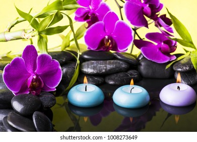 Zen garden with black stones, purple orchid and floating candles