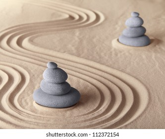 zen garden meditation stone for meditation and relaxation conceptual for simplicity harmony purity and balance background with copy space