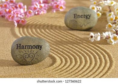 zen garden with stones of harmony and energy