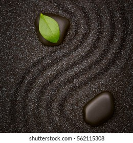 Zen garden with wave lines in the black sand with a vivid green leaf