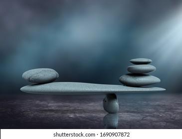 Zen like stone balance concept