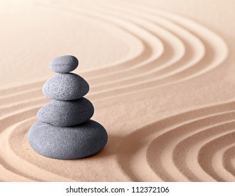 zen meditation garden, harmony relaxation and concentration concept in pattern of sand and stones