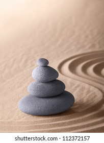 zen meditation garden japanese Buddhism concentration and relaxation stone and sand conceptual purity harmony and simplicity
