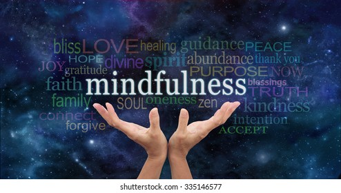 Zen Mindfulness Meditation  - Female hands reaching up towards  the word 'Mindfulness' floating above surrounded by a relevant word cloud on a dark blue night sky background